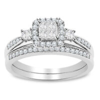 2.00 ct Princess Cut Diamond Halo Engagement Bridal Ring Set 14k White Gold Over