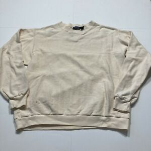 Vintage Patagonia Cotton Crewneck Sweatshirt Tan Beige Large Made Hong Kong 90s