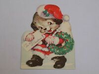 Christmas Greeting Card Old Vintage Rust Craft 1943 Santa Claus Dog Puppy USA