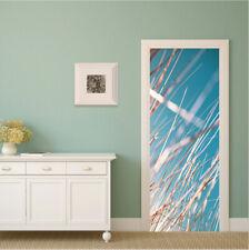 Reeds under the Blue Sky Self-Adhesive Bedroom Door Mural PVC Door Sticker Decal