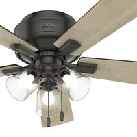 Hunter Fan 52 inch Low Profile Noble Bronze Indoor Ceiling Fan with Light Kit
