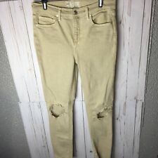 Free People Destroyed Ankle Skinny Jeans SZ 28 Beige Tan Ripped Stretch Hi Rise