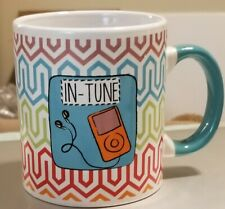 Colorful Geometric Funky, Headphone Coffee Mug Cup Attached to I-pod Design