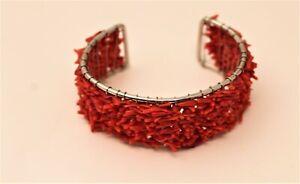 Beautiful Silvertone & Red Coral Chip Wire Cuff Wrap Bracelet U#