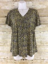 Jones Wear Career Shirt Top Womens Small Abstract Vienna V-neck Ruffle NWT