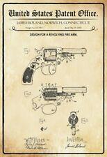 US Patent Revolver 1885 Blechschild Schild gewölbt Metal Tin Sign 20 x 30 cm