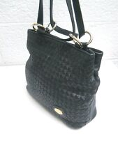 Etienne Aigner Black Woven Leather Front 3-Compartment Shoulder / Crossbody Bag