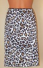 "White House Black Market Satin Skirt Leopard Women's 6 Pencil 7"" Back Slit EUC"