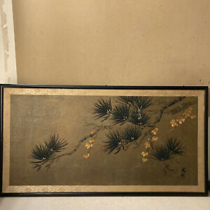 ANTIQUE ORIGINAL PAIR OF JAPANESE PAINTING ON MULBERRY PAPER, ARTIST SEAL