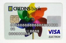 Expired Credins Bank debit card VISA ELECTRON from Albania. With chip