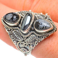 Large Hematite, Snowflake Obsidian Sterling Silver Ring Size 9.5 Jewelry R60985F