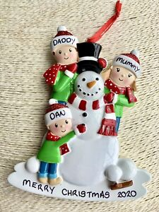 Personalised Family of 3 + Snowman Christmas Tree Decoration Bauble Xmas 2020