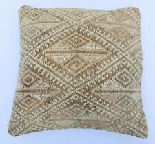 Couch Throw  Boho Pillowcase İnterior, Handwoven Vintage Kilim Cover, 16''x16''
