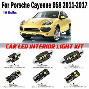 16pcs Deluxe White LED Interior Map Light Kit For Porsche Cayenne 958 2011-2017