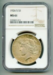 1926 S Peace Silver Dollar NGC MS 61