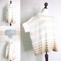 Pure Collection Beige Cream Stripy T Shirt Top  Linen Silk Lagenlook 16 |X43|
