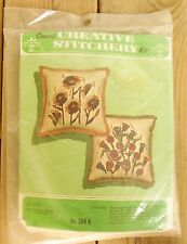 Vintage Crewel Embroidery Pillow Kit Creative Stitchery Burlap Sunflowers Fringe