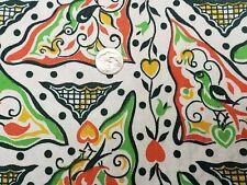 Best Vintage Feedsack Quilt Fabric 40s Novelty Hearts Birds Folk Art Flour Sack