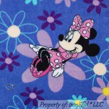 BonEful Fabric Fleece BTHY 1/2 Yd Purple Minnie Mouse Disney Flower Pink Girl US