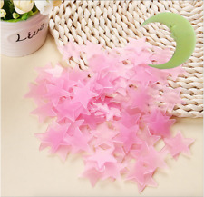 Pink 100 x 3D Home Room Wall Ceiling Glow In The Dark Stars Moon Kid Stickers