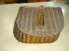 Antique Fishing Anglers Wicker Creel Basket Shoulder Strap Fly Fishing