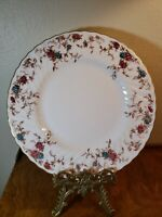 MINTON ANCESTRAL S376 BONE CHINA  PINK & BLUE DINNER PLATE Gold boarder swirl