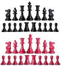 Staunton Triple Weighted Chess Pieces – Full Set 34 Black & Red - 4 Queens