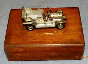 VARNISHED CIGARETTE BOX WITH MODEL VINTAGE OPEN TOP CAR INCOMPLETE - AS FOUND)