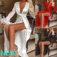 Cocktail V Neck Womens Dresses Boho Evening Casual Long Sleeve Floral Dress Maxi