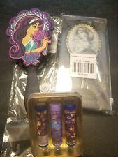 Disney Aladdin Jasmine Hair Brush Folding Metal Mirror And Lip Balm Tin Set NEW
