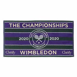 WIMBLEDON TOWEL CLASSIC GREEN PURPLE CHRISTIES NEW 2020 IN COTTON BAG