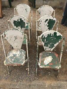 Lot de 6 chaises en fer empilable époque Tolix