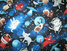 CATS SPACE CAT PLANETS ASTRONAUT STARS BLUE COTTON FABRIC FQ