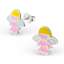 Childrens Kids 925 sterling silver Angel Colorful Ear Studs-Free Gift Box