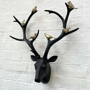 Matt Black Gold Birds Resin Reindeer Stags Antlers Wall Art Large Head Sculpture
