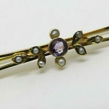 Antique Victorian 9ct Gold Seed Pearl &  Amethyst Sweetheart Brooch / Pin