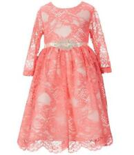 "NEW Rare Editions Girls ""CORAL PINK & IVORY"" Size 12 Allover Rose Lace Dress NWT"