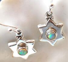 Handarbeit Ohrhänger Opal Blau Feueropal Stern Modern Silber Schlicht Ohrringe
