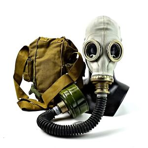 Soviet Russian military Gas mask GP-5 with hose. grey rubber NATO Filter CF F3