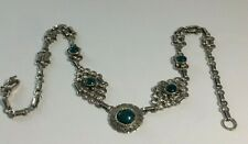 VINTAGE 925,SOLID SILVER GREEN JADE NEPHRITE ? LADIES 16.1/2.INCH LONG NECKLACE