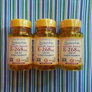 Puritan's Pride 3 Bottle 50 Natural d-Alpha Vitamin E Pill SoftGel 400IU 09/2024