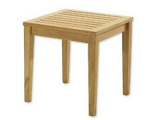 "20.5"" TEAK WOOD SIDE SQUARE TABLE END STOOL BATH SHOWER SPA OUTDOOR INDOOR PATIO"
