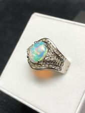 Australian Natural Solid Fire Opal Ring 18k White Gold Setting w/42 Diamonds