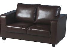Seconique Tempo 2 Seater Sofa in a Box - Espresso Brown Faux Leather Settee