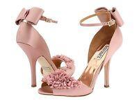 NIB Badgley Mischka LELAH satin  wedding bridal frilly sandals BOW shoes Rose 10