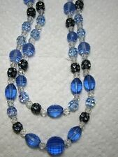Vintage Shades Of Blue Lucite, Crystal & Rondel Rhinestone Bead Necklace