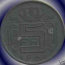 1941, 1941 & 1943 Belgium 5 Franc Coins