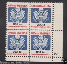 Official Mail USA  4¢  O-128  Seal Eagle Plate Block #2 MNH LR