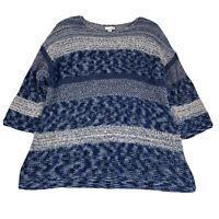 J. Jill Plus Size 1X Pullover Sweater Blue White Striped 3/4 Sleeve Cotton Blend
