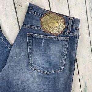 Just Cavalli Italian Logo Plate Antique Wash Jeans - Size 36